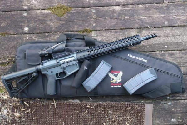 Wilson Combat Rifle, Trijicon  Red Dot Scope,  and Case.