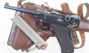 Swiss Luger 1906, Military, Cross in Sunburst, Holster, Strap, 8318, I-595