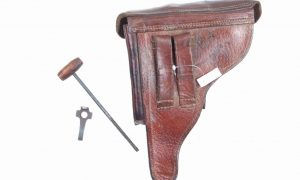 German Luger Holster, Portuguese Navy, with Takedown Tool, Cleaning Rod, X-145